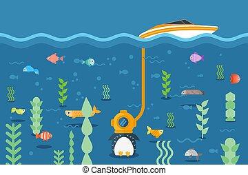 segurado, flightless, dispositivo, nade, peixe, pássaro, iate, submarinas, three-cap, pingüim, vetorial, mundo, ao redor, illustration., tubo, explora