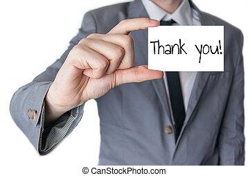 segurado, tu, agradecer, mão