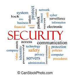 segurança, conceito, palavra, nuvem