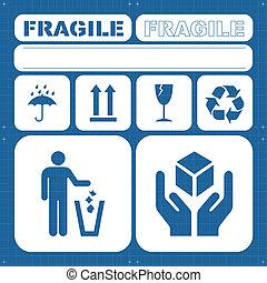 segurança, frágil, vetorial, jogo, ícone