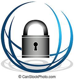 segurança, global, ícone