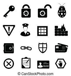 segurança, jogo, segurança, ícone