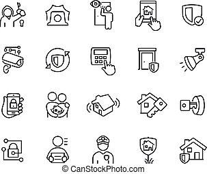 segurança, magra, ícones, lar, linha
