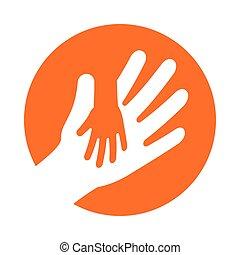 segurando, adulto, mão, criança