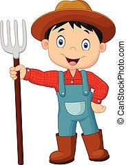 segurando, agricultor, jovem, caricatura, ancinho