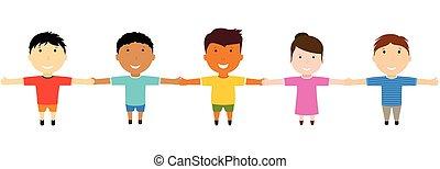 segurando, amigos, grupo, hands., feliz