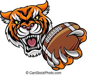 segurando, futebol americano, tiger, bola