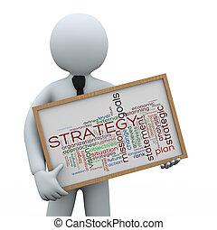 segurando, homem negócios, estratégia, 3d, wordcloud
