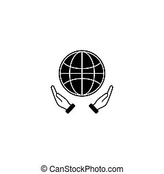 segurando, image., illustration., apps., cofre, vetorial, mão, globo, teia, ícone, logotipo, eco, terra