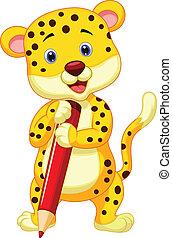 segurando, leopardo, pe, cute, caricatura, vermelho