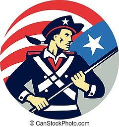 segurando, retro, americano, brandir, eua, patriota, círculo, bandeira