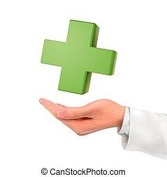 segurando, símbolo, médico, mão, 3d
