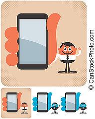 segurando, smartphone