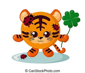 segurando, sorte, tiger, engraçado, bom, quatro-folha, sorrindo, ladybugs, trevo, corporal, redondo, cute