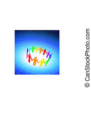 segurando, vetorial, ai8, figuras, vara, fundo, globo, compatível, azul, cor, illustration:, diferente, original, mãos