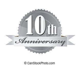selo, ilustração, aniversário, 10th