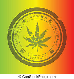 selo, marijuana, fundo, rastafarian