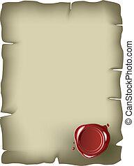selo, papel, antigas, vermelho, cera