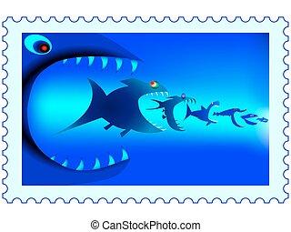 selo, peixe, predadores