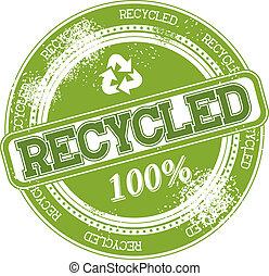 selo, reciclado, vetorial, grunge