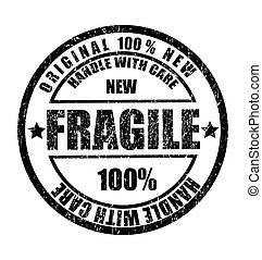 selo, texto, borracha, frágil, grunge