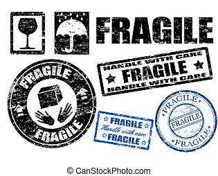 selos, frágil, sinais