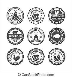 selos, fresco, fazenda, emblema, logotipos