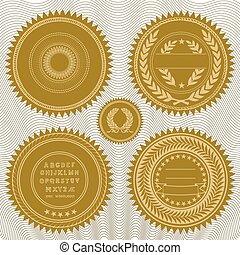 selos, vetorial, recompensa