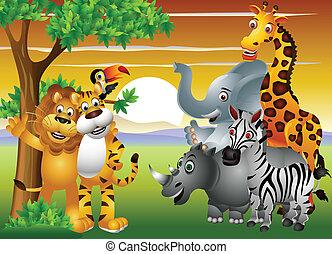 selva, animal, caricatura