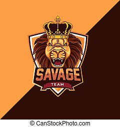 selvagem, mascote, logotipo, modelo, leão