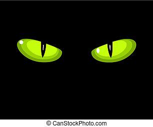 selvagem, olhos, gato verde