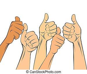 semelhante, gesto, mãos