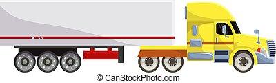 semi-caminhão, carga, jogo, transporte, fundo, semi, despacho, isolado, ilustração, trucking, entrega, vetorial, caminhão, transportar, frete, veículo, branca, reboque, camião, transporte