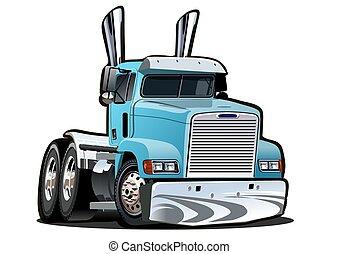 semi, fundo, caminhão, caricatura, branca, isolado
