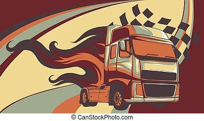 semi, ilustração, desenho, caricatura, truck., vetorial