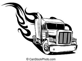 semi, ilustração, vetorial, desenho, truck., caricatura