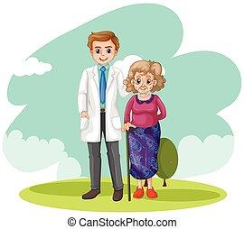 senhora, campo, antigas, doutor