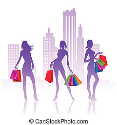 senhoras, shopping