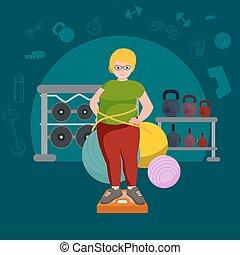 seniores, estilo, antigas, gorda, gym., bonito, condicão física, woman., caricatura