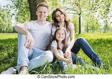sentando, árvore, família, sob