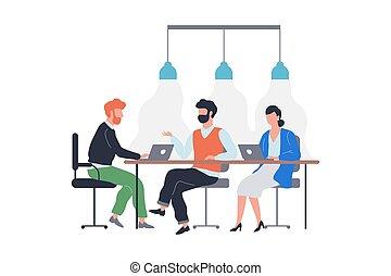sentando, equipe, negócio, meeting., pessoas, grupo