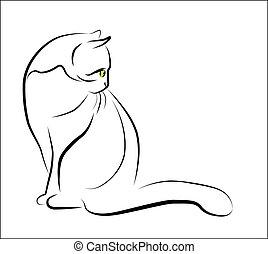 sentando, esboço, ilustração, gato