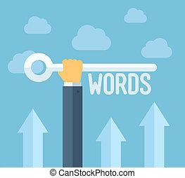 seo, keywords, conceito, ilustração, apartamento