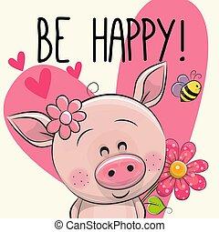 ser, feliz, cartão cumprimento, porca