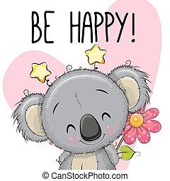 ser, koala, cartão cumprimento, feliz