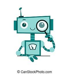 serviço, concept., vetorial, robô, apoio, conversa, apartamento, cute, ilustração, sorrindo, bot., caricatura