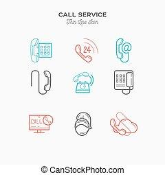 serviço, cor, nós, ilustração, contato, jogo, vetorial, chamada, magra, telefone, ícones, linha