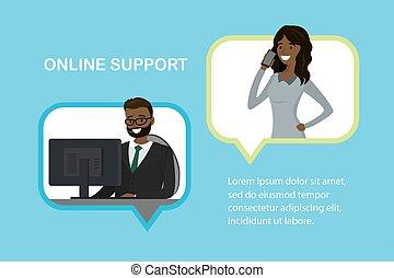 serviço freguês, online, apoio, conceito