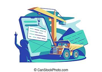 serviço, online, ferramenta, predios