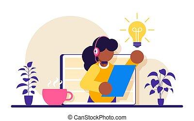 service., illustration., assistente, apartamento, cliente, ajuda, operator., online, aconselha, conceito, client., virtual, hotline, apoio, femininas, operador, 24-7., técnico, modernos